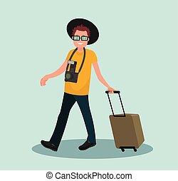 bagagem, ar, ir, aeroporto., passenger., homem