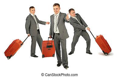 bagagem, colagem, três, fundo, homens negócios, branca