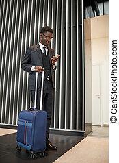 bagagem, homem, africano