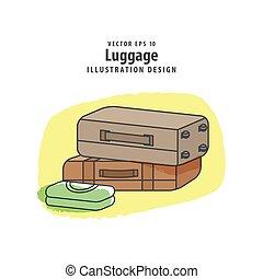 bagagem, viagem, ilustração, experiência., embalagem, vetorial, concept.