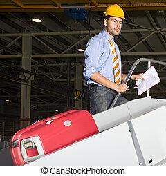 bagages, ligne, maniement, inspecten