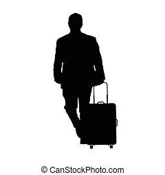 bagages, voyage, illustration, homme