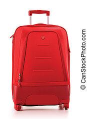 bagaglio, consistere, di, grande, valigia, isolato, bianco