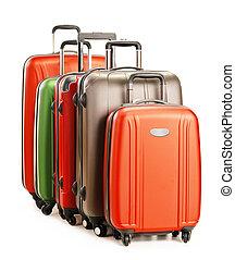 bagaglio, consistere, di, grande, valigie, isolato, bianco