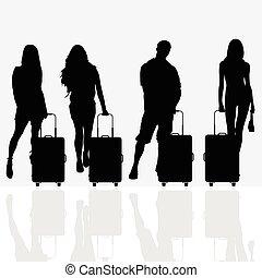 bagaglio, viaggiare, donna, illustrazione