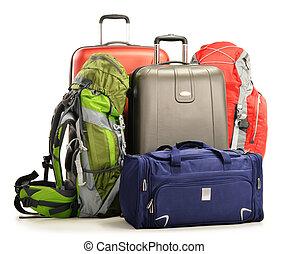 bagaglio, viaggiare, valigie, grande, borsa, rucksacks,...