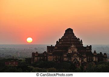 bagan, 日の出, 上に, 寺院, ミャンマー
