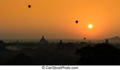 Bagan at sunrise , Myanmar