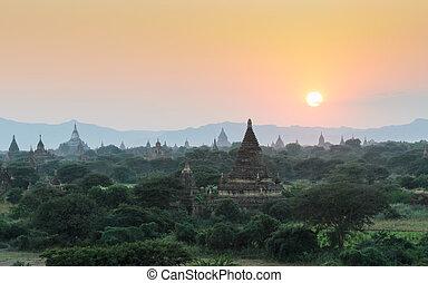 Bagan at sunset, Myanmar