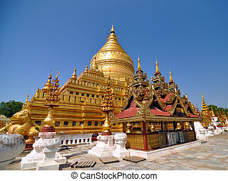 bagan, határkő, paya, pagoda, shwezigon
