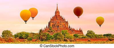 bagan., htilominlo, myanmar., templo