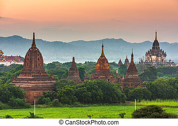 Bagan, Myanmar ancient temple ruins landscape in the archaeological zone