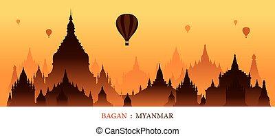 Bagan, Myanmar, Landmarks Silhouette Sunrise Background -...