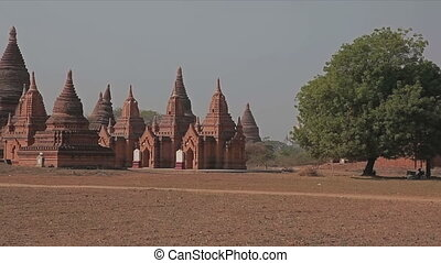 Bagan - pagodas - Panorama in Bagan. Group of temples and...
