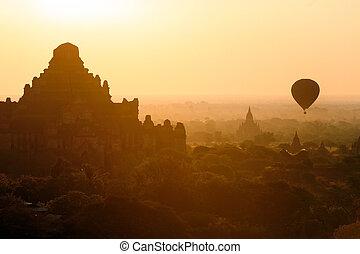 bagan, solopgang, hen, templer, myanmar