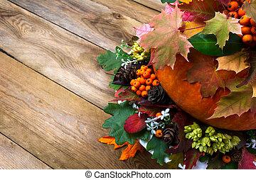 bagas, espaço, legumes, folhas, fundo, outono, cópia