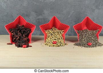 bagas, goji, sementes, cânhamo, chia, sementes