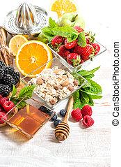 bagas, muesli, frutas, fresco, pequeno almoço, croissants
