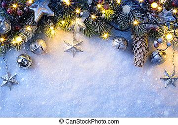 bagas, ornamento, fundo, abeto, neve, natal, prata, estrelas