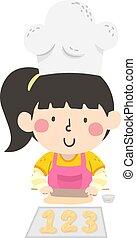 bage, 123, antal, pige, bread, barnet, illustration