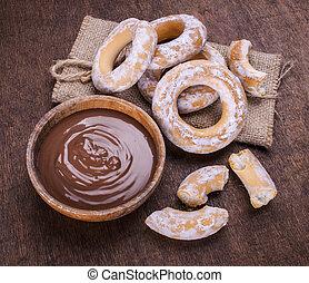 bagel, cioccolato, scuro, legno, fondo, crema