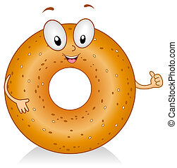 Bagel Gesture - Illustration of a Bagel Character Giving a...