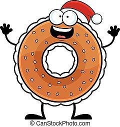 bagel, hoedje, spotprent, kerstman