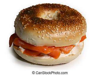 smoked salmon with cream cheese sandwich on sesame bagel