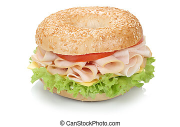 Bagel sandwich with ham isolated