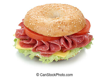 Bagel sandwich with salami ham isolated