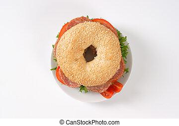 bagel sandwich with salami