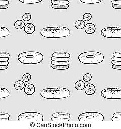 Bagel seamless pattern greyscale drawing