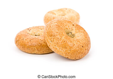 Bagel - Whole Wheat Bagel with white background