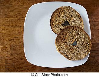 bagel, trigo, inteiro