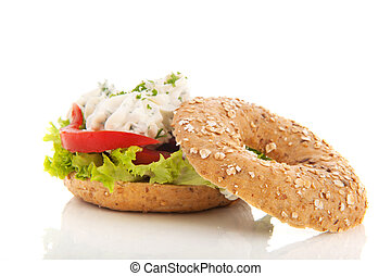 Bagel with cream cheese and herbs