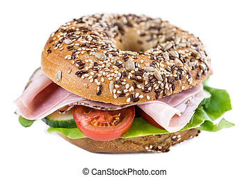 Bagel with Ham (isolated on white) - Bagel with Ham isolated...