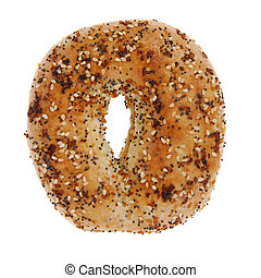 A golden bagel with onion, sesame and poppy seeds