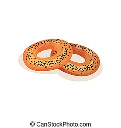 Bagel with poppy seeds, bakery pastry product vector Illustration isolated on a white background.