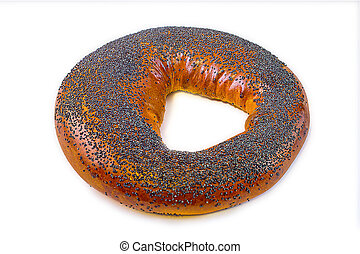 Bagel with poppy seeds isolated on white