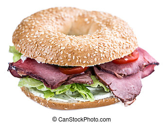 Bagel with Roast Beef (isolated on white) - Fresh made Bagel...