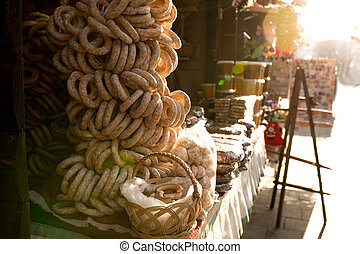Bagels at the Christmas fair in the center square of Lvov