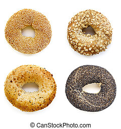 Bagels Collection Isolated on White