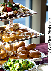 bagels during a catered event - a brunch platter with bagels