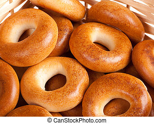 bagels in the basket close up