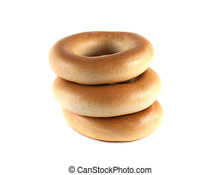 Bagels isolated on white background (three).