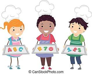 bager, børn, stickman, småkager
