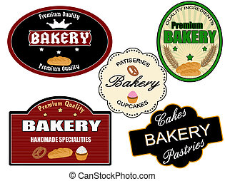bageri, sätta, etikett