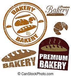 bageri, sätta, frimärken
