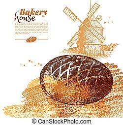 bageri, skiss, bakgrund., årgång, hand, oavgjord, vektor,...