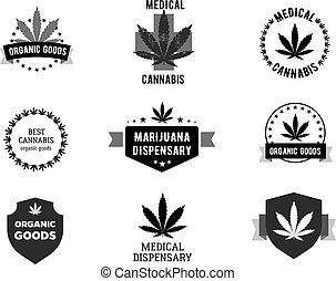 Uso, médico, -, marijuana, cannabis, logotipo  Illustration